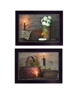 """White / Red baskets 2-Piece Vignette by Susie Boyer, Black Frame, 19"""" x 14"""""""