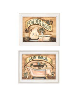 "Bath Powder Room 2-Piece Vignette by Becca Barton, White Frame, 13"" x 11"""