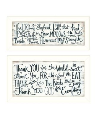 """Thank You Lord 2-Piece Vignette by Annie LaPoint, White Frame, 20"""" x 11"""""""