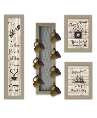 """Kitchen Collection VII 4-Piece Vignette with 7-Peg Mug Rack by Millwork Engineering, Taupe Frame, 10"""" x 32"""""""