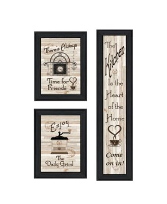 """The Kitchen Collection I 3-Piece Vignette by Millwork Engineering, Black Frame, 10"""" x 32"""""""