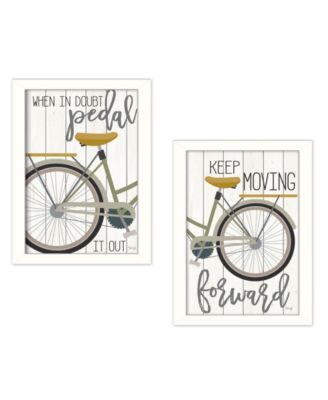 """Pedal it Out 2-Piece Vignette by Marla Rae, White, 14"""" x 20"""""""