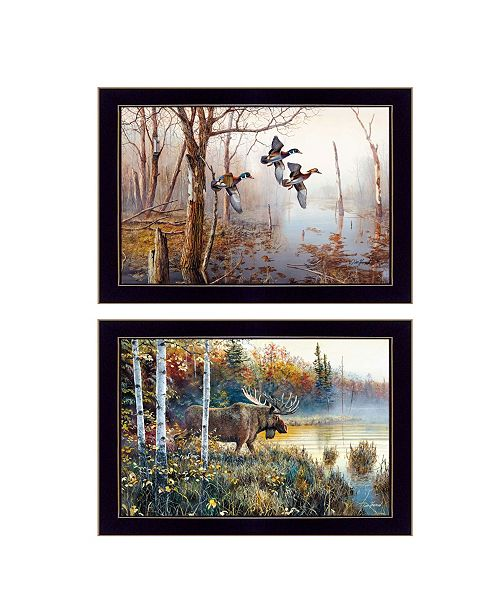 "Trendy Decor 4U Trendy Decor 4U Backwater Mist Collection By Jim Hansen, Printed Wall Art, Ready to hang, Black Frame, 20"" x 14"""