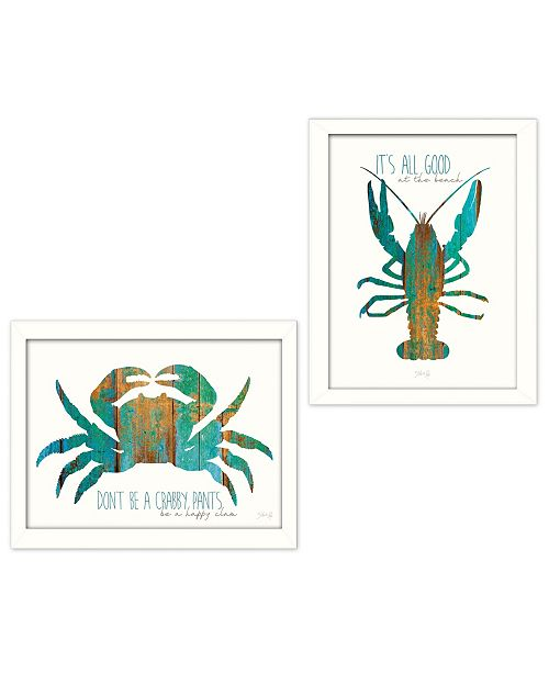 """Trendy Decor 4U Trendy Decor 4U It's All Good at the Beach Collection By Marla Rae, Printed Wall Art, Ready to hang, White Frame, 32"""" x 18"""""""