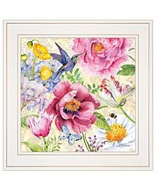 "Trendy Decor 4U English Garden I by Barb Tourtillotte, Ready to hang Framed Print, White Frame, 15"" x 15"""