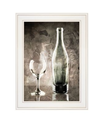 "Moody Gray Wine Glass Still Life by Bluebird Barn, Ready to hang Framed Print, White Frame, 15"" x 19"""