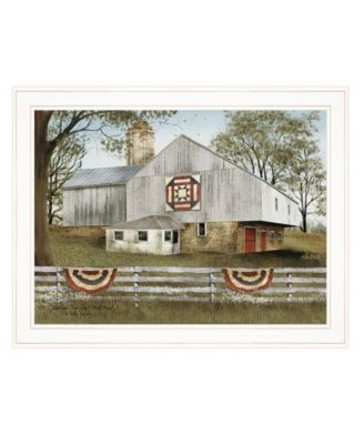 """American Star Quilt Block Barn by Billy Jacobs, Ready to hang Framed Print, White Frame, 27"""" x 21"""""""
