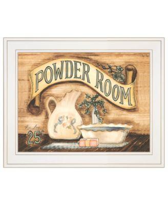 "Powder Room by Becca Barton, Ready to hang Framed Print, White Frame, 13"" x 11"""