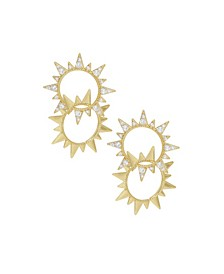 Golden Double Sun Earrings with Crystals