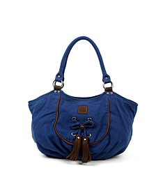Bold Lotus Canvas Hobo Bag