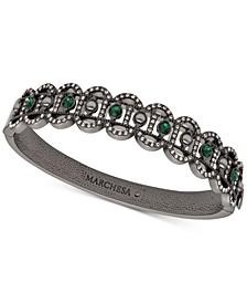 Hematite-Tone Crystal & Imitation Pearl Filigree Bangle Bracelet