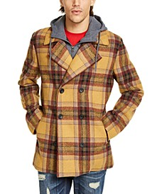 Men's Sheridan Double-Breasted Plaid Peacoat with Removable Hooded Bib, Created For Macy's
