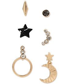 Gold-Tone 6-Pc. Set Crystal & Splatter Star Mismatch Stud Earrings
