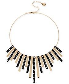 """Gold-Tone & Pavé Splatter Stick Statement Necklace, 14"""" + 3"""" extender"""