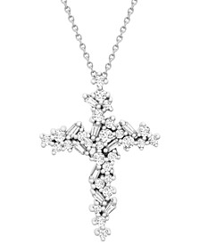 "Diamond Baguette Cluster Cross 18"" Pendant Necklace (1/2 ct. t.w.) in 10k White Gold"