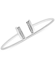 Diamond Double Bar Cuff Bracelet (1/10 ct. t.w.) in 10k White Gold