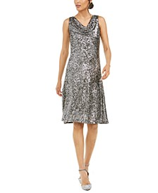 Cowlneck Sequined Midi Dress
