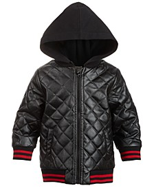 Baby Boys Layered-Look Quilted Hooded Jacket, Created For Macy's