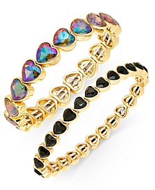 INC Gold-Tone 2-Pc. Set Stone Heart Stretch Bracelets, Created For Macy's