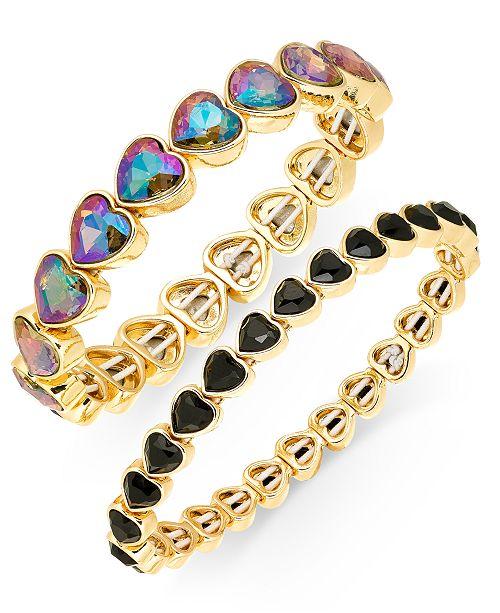 INC International Concepts INC Gold-Tone 2-Pc. Set Stone Heart Stretch Bracelets, Created For Macy's