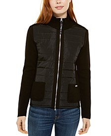 Puffer-Front Sweater Jacket