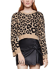 Leopard-Print Cropped Sweater