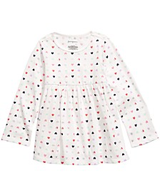 Baby Girls Heart-Print Cotton Tunic, Created For Macy's