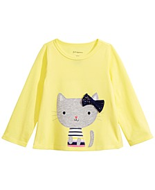Toddler Girls Long-Sleeve Striped Cat T-Shirt, Created For Macy's
