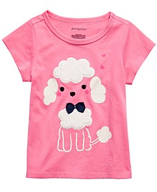 Baby Girls Poodle-Print T-Shirt With Faux-Sherpa Trim, Created for Macy's