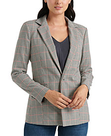 Lucky Brand Windowpane-Print Single-Button Blazer