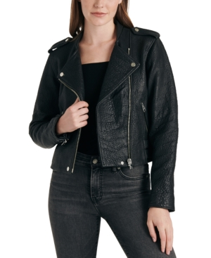 Lucky Brand Leather Moto Jacket In Lucky Black