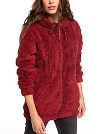 Head On Down Faux-Sherpa Zip-Up Hoodie