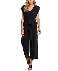 Juniors' Same Old Blues Belted Jumpsuit