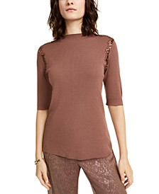 Lace Sequin-Trim Sweater, Created For Macy's