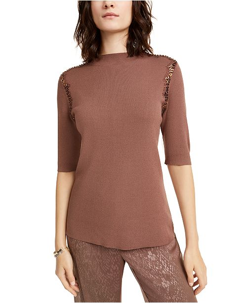 Alfani Lace Sequin-Trim Sweater, Created For Macy's