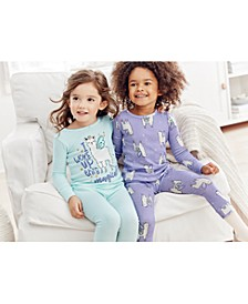 Little & Big Girls 4-Pc. Cotton Snug-Fit Llama Pajamas Set