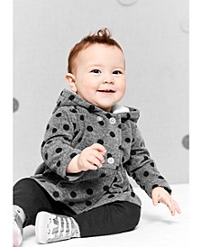 Baby Girls 3-Pc. Fleece Dot-Print Hoodie, Bodysuit & Pants Set