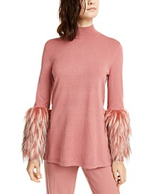 Faux-Fur-Cuff Mock-Neck Sweater, Created for Macy's