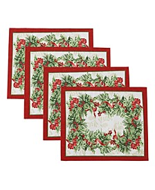 Holly Traditions Holiday Placemats, Set of 4