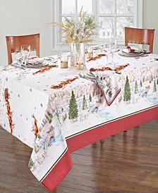 """Santa's Snowy Sleighride Tablecloth - 52"""" x 70"""""""