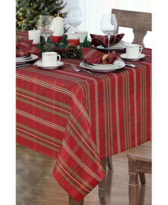"""Shimmering Plaid Tablecloth - 60"""" x 84"""" Oval"""