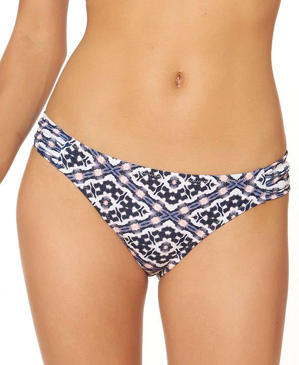 Jessica Simpson Venice Beach Printed Shirred Hipster Bikini Bottoms