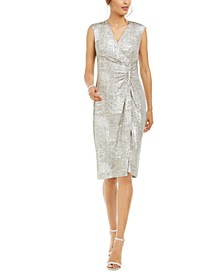 Petite Metallic Zip Sheath Dress