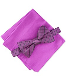 Men's Grid Pre-Tied Bow Tie & Solid Pocket Square Set, Created For Macy's