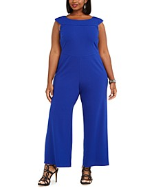 Plus Size Boat-Neck Wide-Leg Jumpsuit