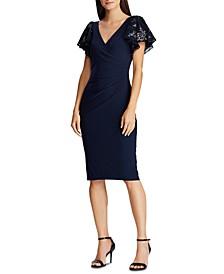 Petite Sequin-Sleeve Jersey Dress