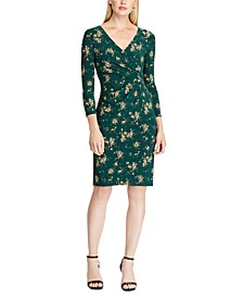 Floral Jersey Surplice Dress