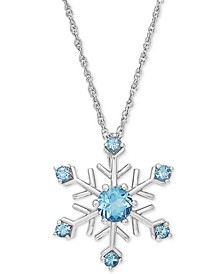 "Swiss Blue Topaz 18"" Snowflake Pendant Necklace (1 ct. t.w.) in Sterling Silver"