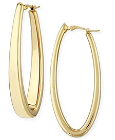 Oval Oblong Hoop Earrings Set in 14k Yellow Gold