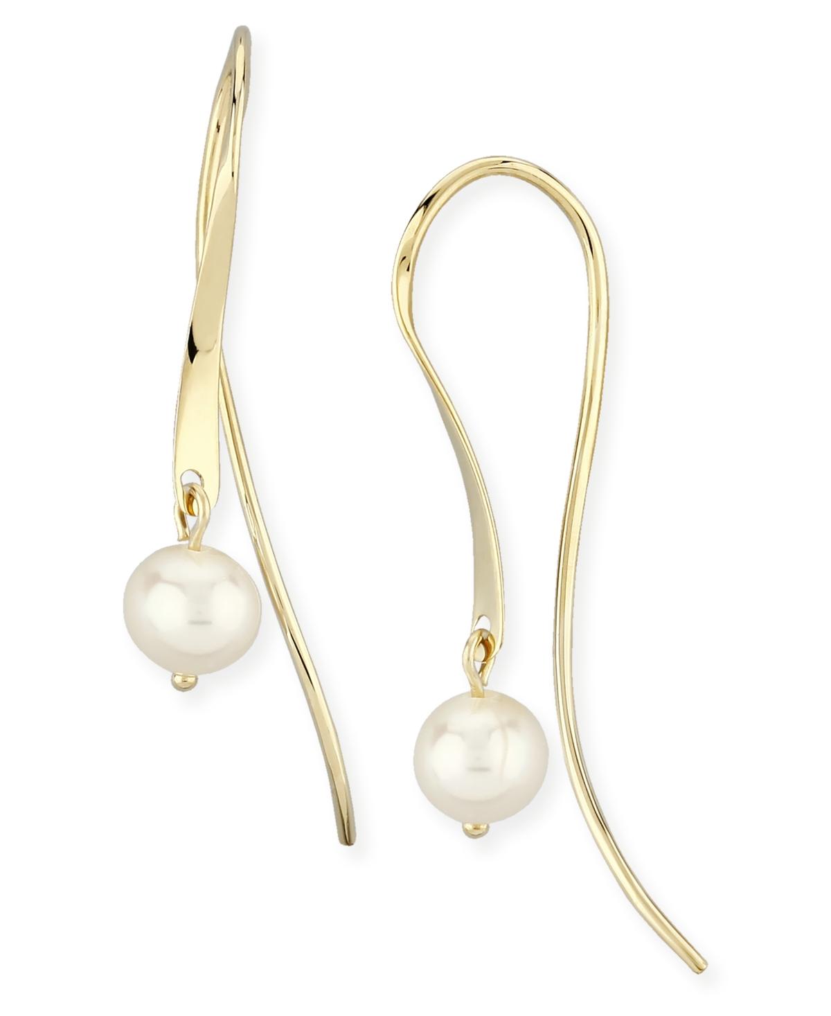 Mini Sweep Pearl (5 mm) Drop Earrings Set in 14k Yellow Gold